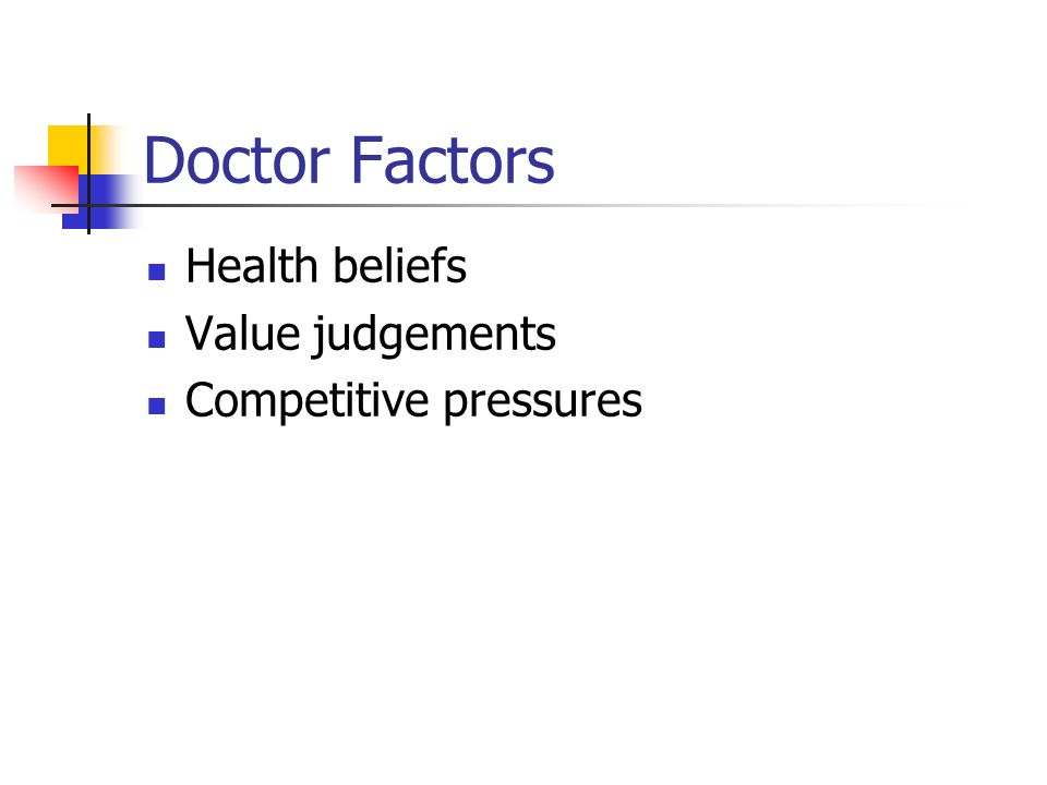 Doctor Factors Health beliefs Value judgements Competitive pressures