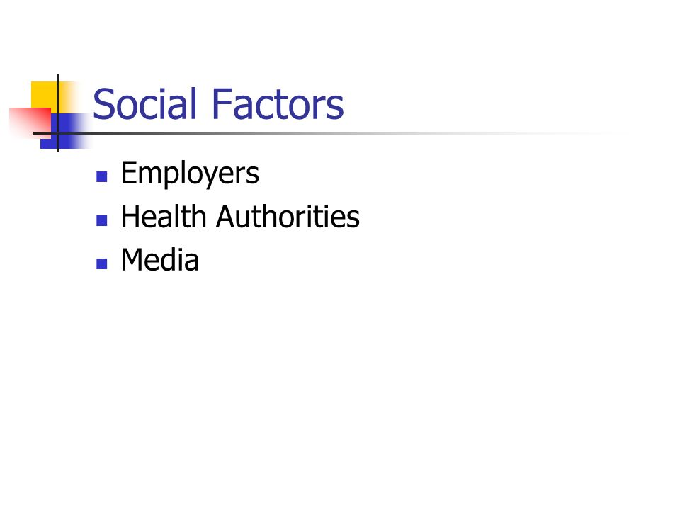 Social Factors Employers Health Authorities Media