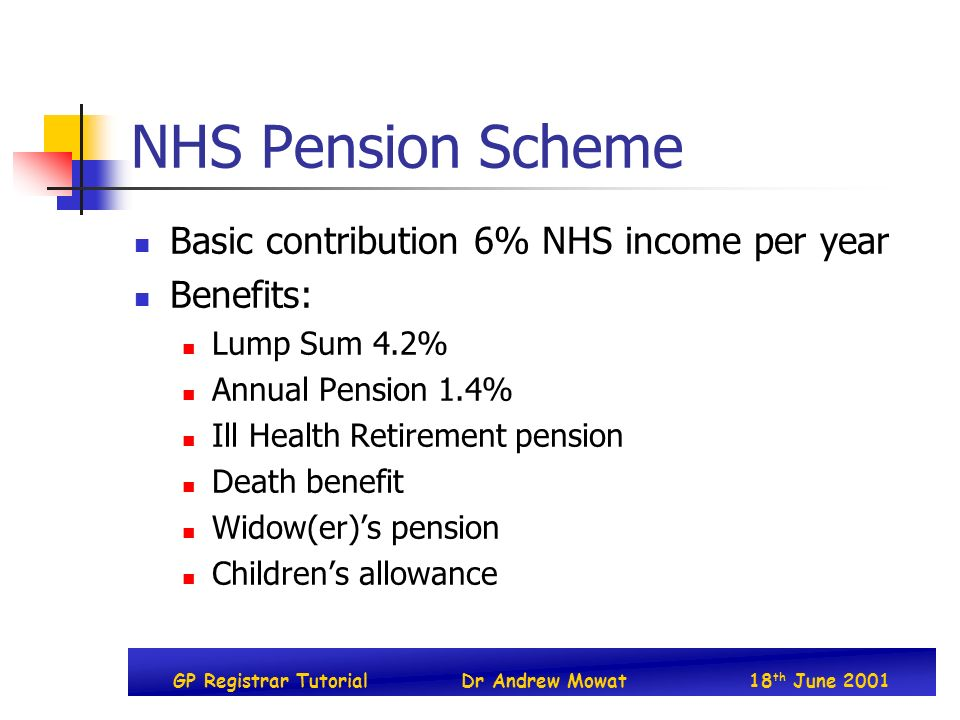 GP Registrar TutorialDr Andrew Mowat18 th June 2001 NHS Pension Scheme Basic contribution 6% NHS income per year Benefits: Lump Sum 4.2% Annual Pensio