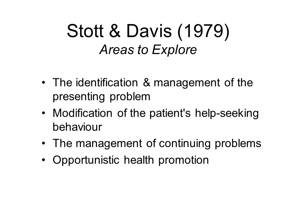 Stott & Davis (1979) Areas to Explore The identification & management of the presenting problem Modification of the patient's help-seeking behaviour T
