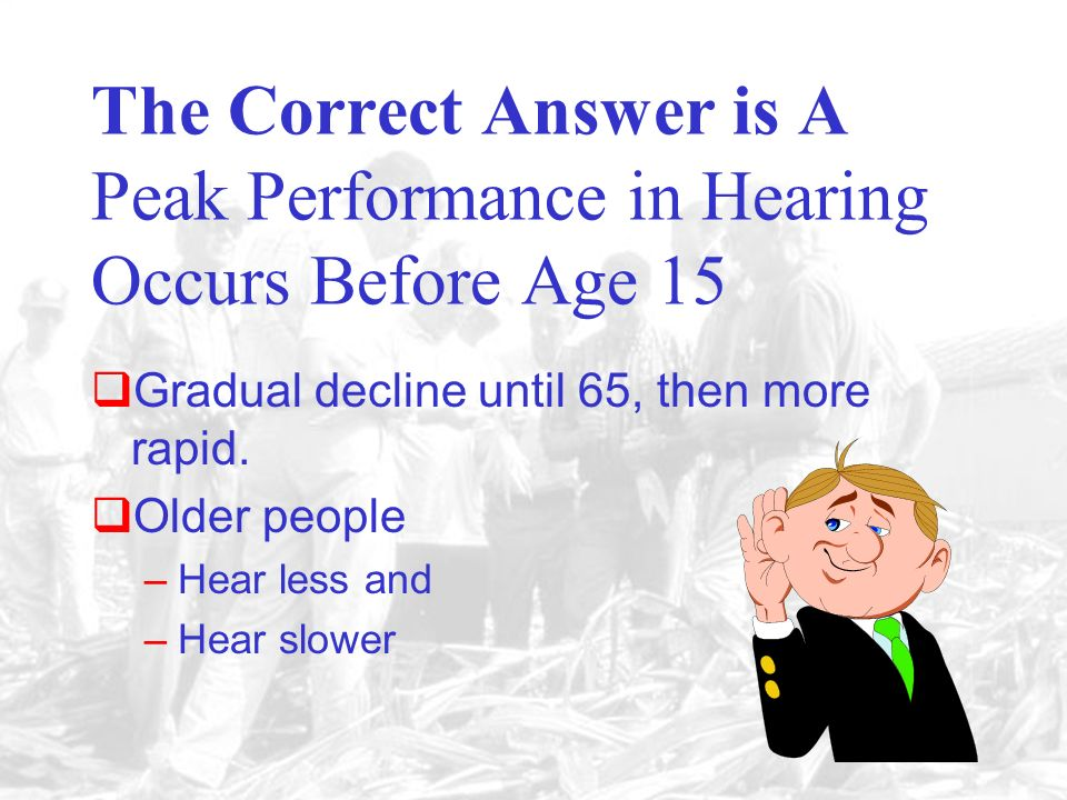 A. Age 15 C. Age 45D. Age 60 B. Age 30 The ability to hear peaks before