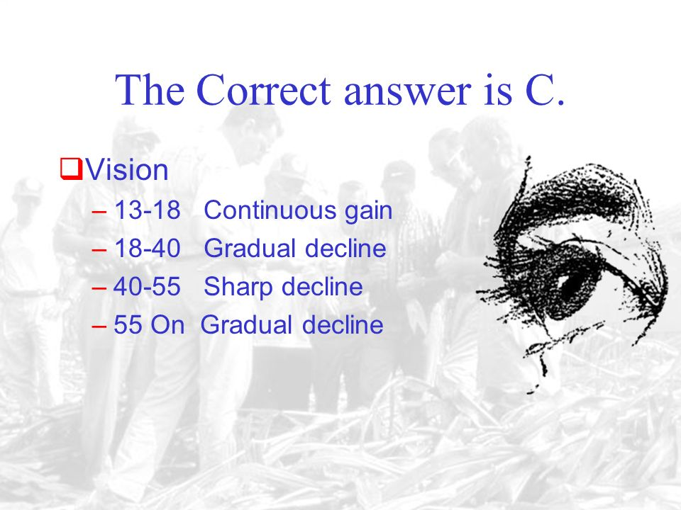 A. Between 13 and 18 C. Between 40 and 55D. After 55 B. Between 18 and 40 The most acute decline in vision occurs