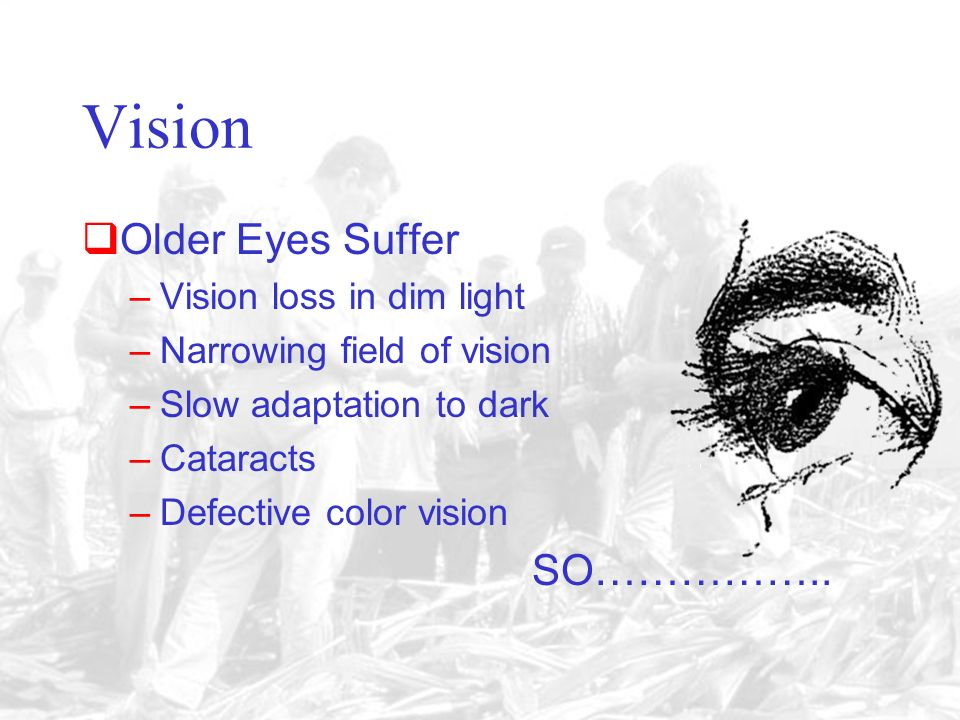 The Correct answer is C. Vision –13-18 Continuous gain –18-40 Gradual decline –40-55 Sharp decline –55 On Gradual decline