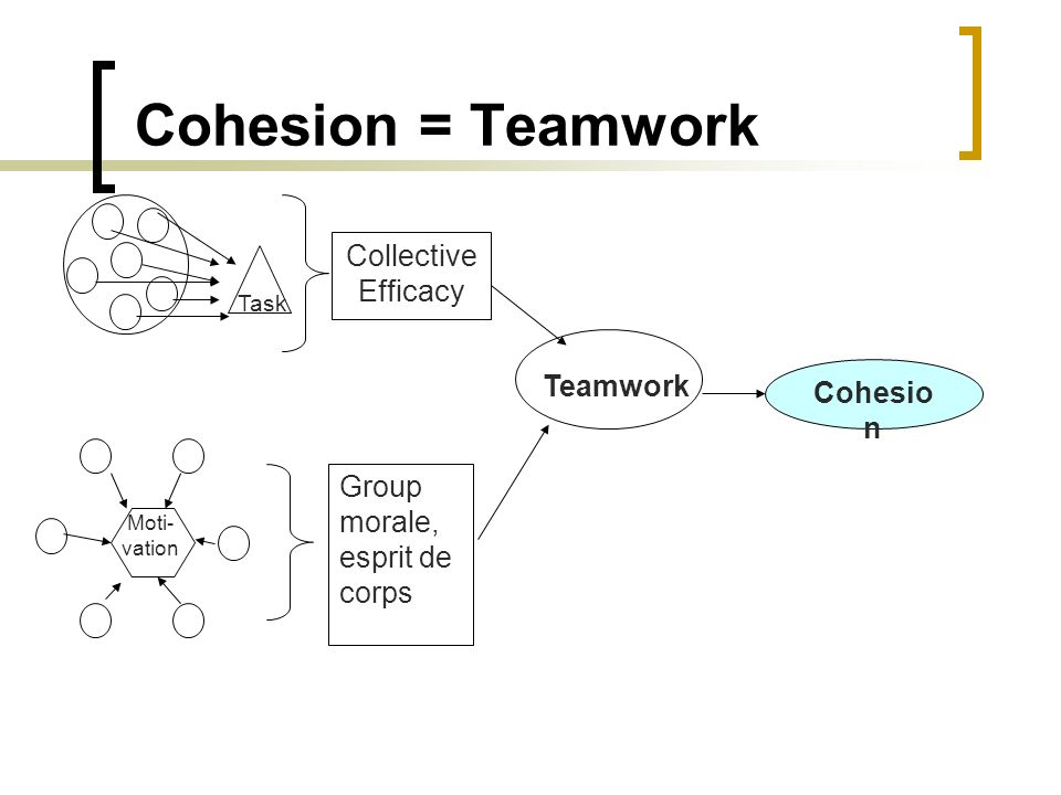 Cohesio n Group morale, esprit de corps Teamwork Collective Efficacy Task Moti- vation Cohesion = Teamwork