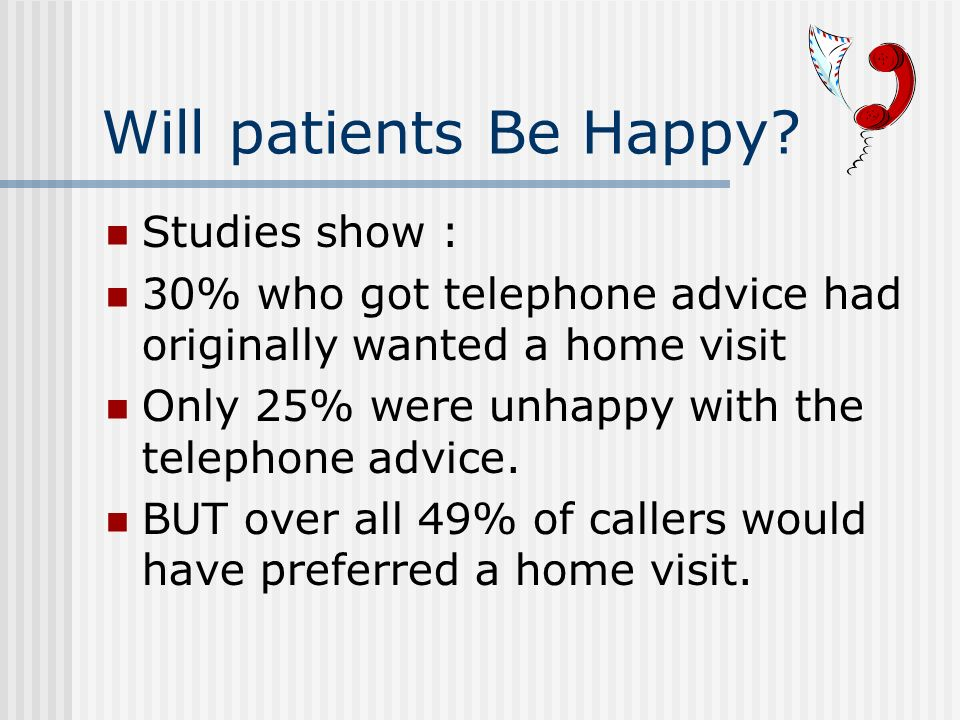 Will patients Be Happy.