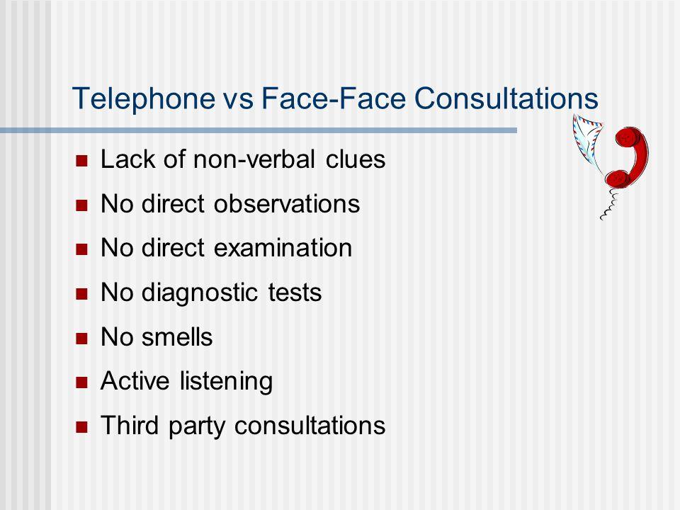 Telephone vs Face-Face Consultations Lack of non-verbal clues No direct observations No direct examination No diagnostic tests No smells Active listen