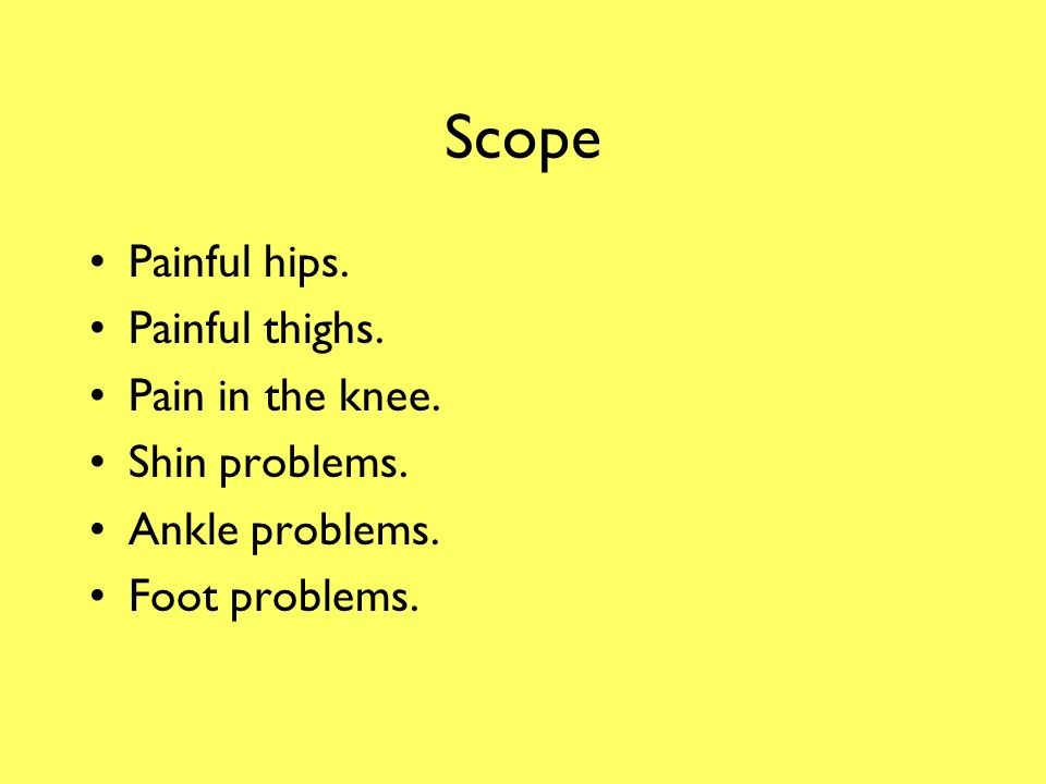 Lower Limb Problems Orthopaedic Medicine