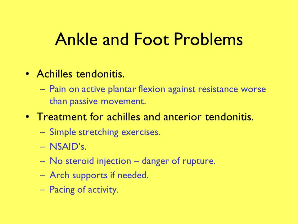 Ankle and Foot Problems Ankle anterior tendonitis.