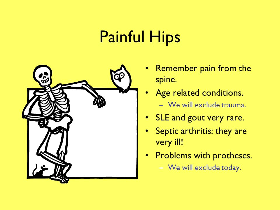 Scope Painful hips. Painful thighs. Pain in the knee. Shin problems. Ankle problems. Foot problems.