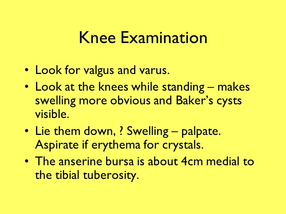 Knee Pain Excluding trauma.Normal range of movement: –Flexion 140°.