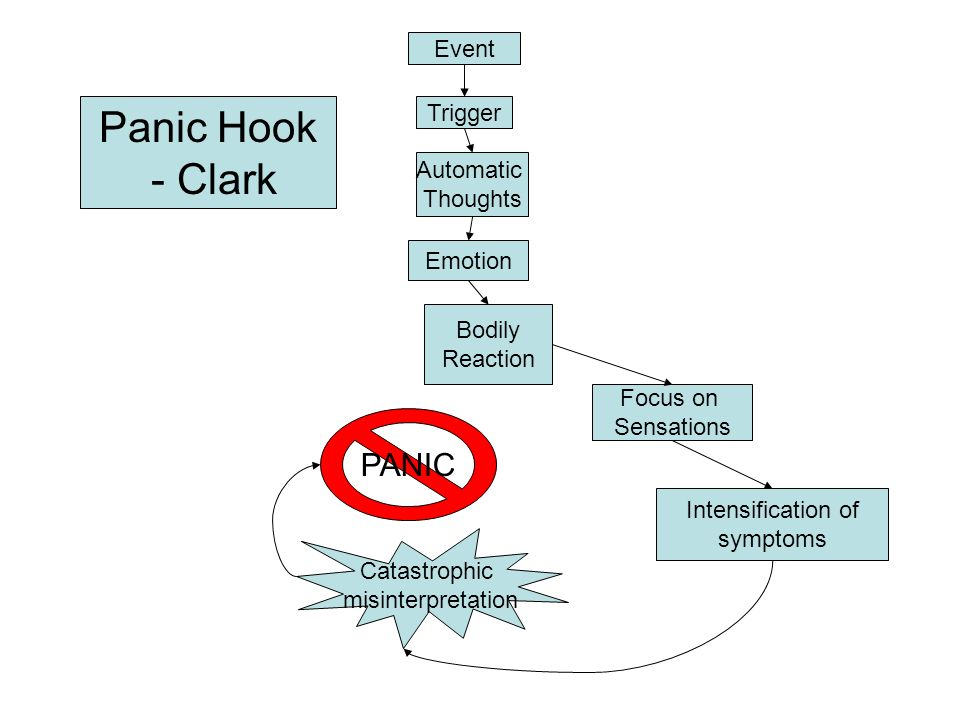Event Trigger Automatic Thoughts Emotion Bodily Reaction Focus on Sensations Intensification of symptoms Catastrophic misinterpretation PANIC Panic Hook - Clark