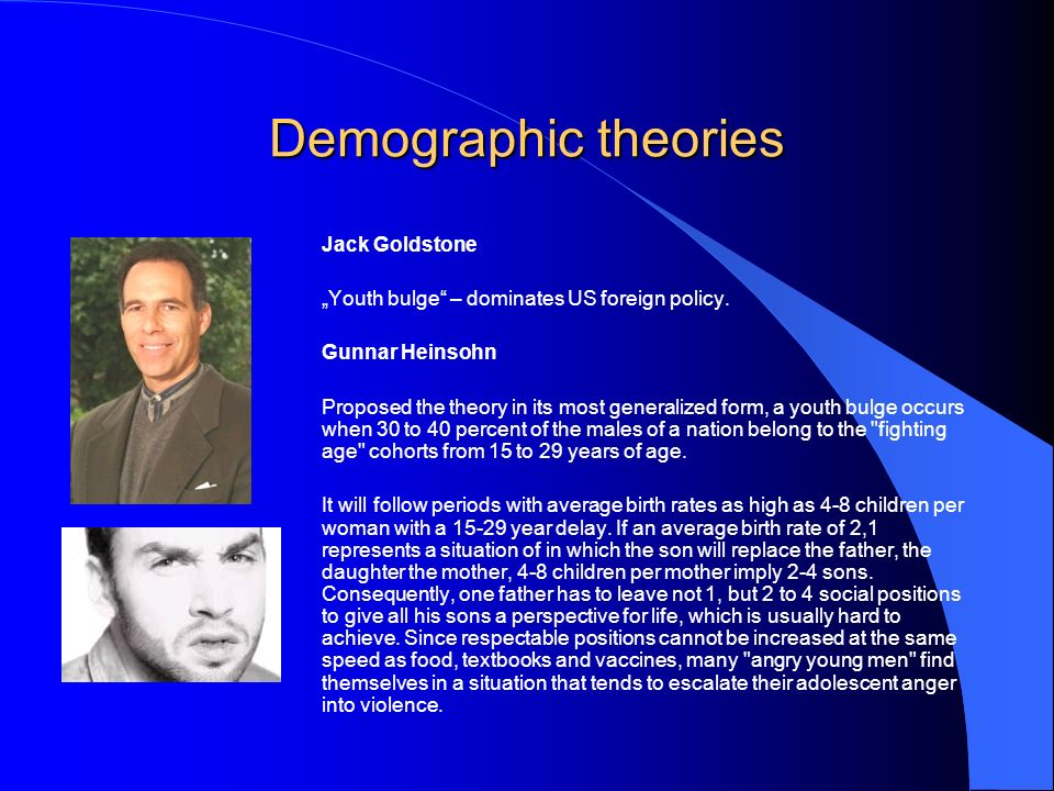 Demographic theories Jack Goldstone Youth bulge – dominates US foreign policy.