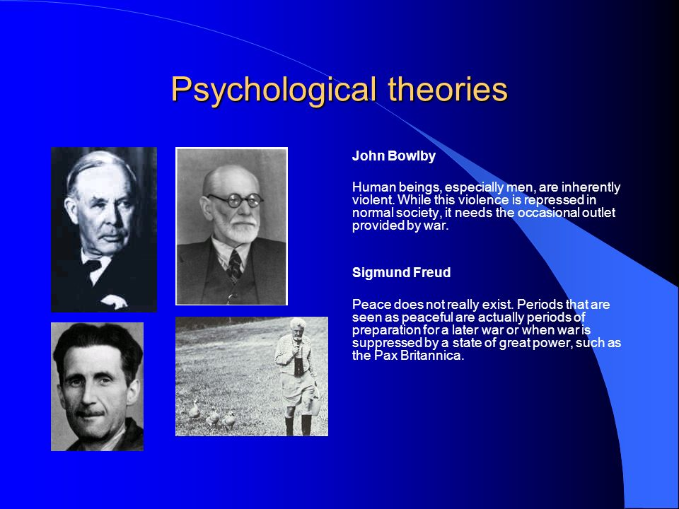 Psychological theories John Bowlby Human beings, especially men, are inherently violent.