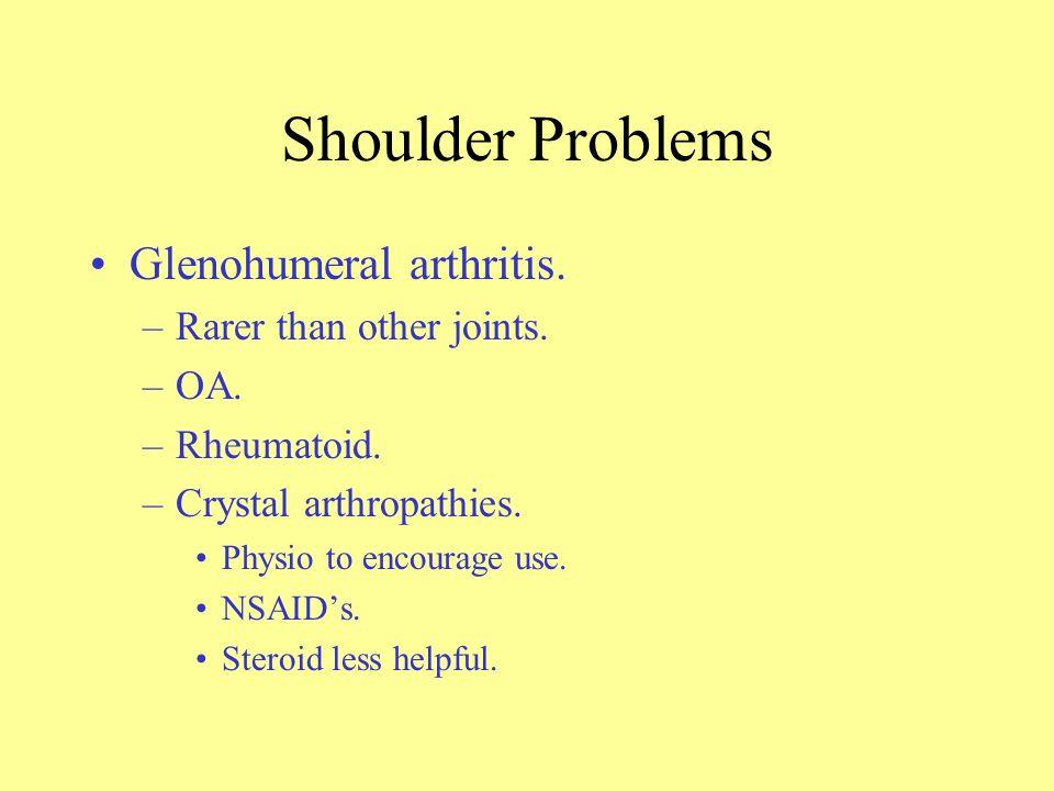 Shoulder Problems Frozen shoulder. –Women:Men, 3:1. –Insidious onset. –Commoner after 50years. –Global restriction of movement, external rotation most