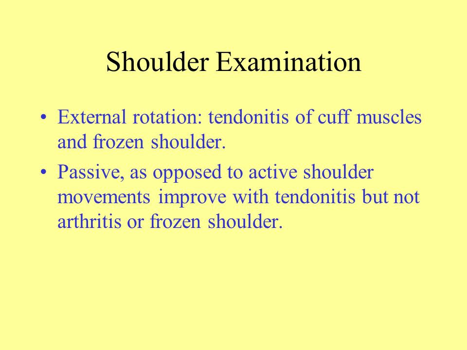 Shoulder Examination External rotation: tendonitis of cuff muscles and frozen shoulder.