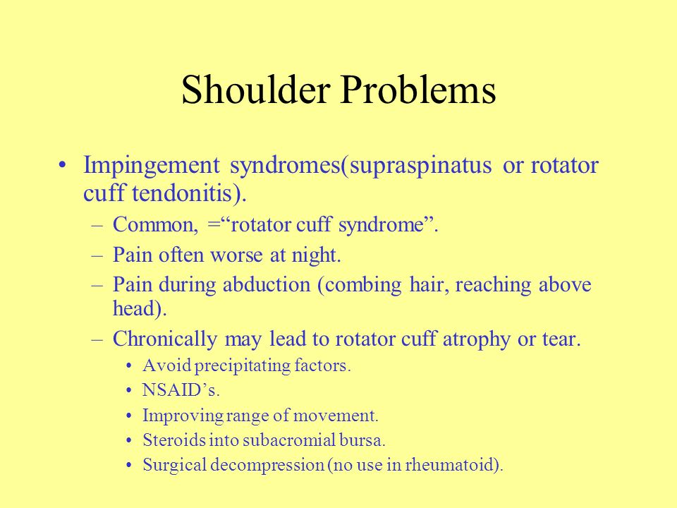 Shoulder Examination External rotation: tendonitis of cuff muscles and frozen shoulder. Passive, as opposed to active shoulder movements improve with