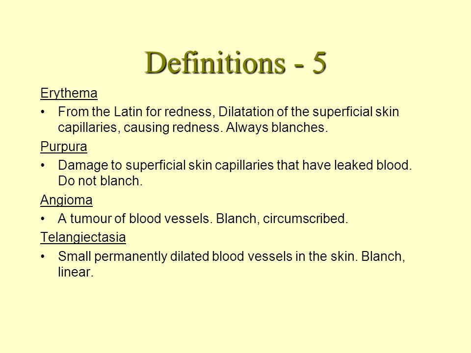 Definitions - 4 Nummular / Discoid From Latin for coins and discs. No real distinction. Flat disc like lesions of various sizes.