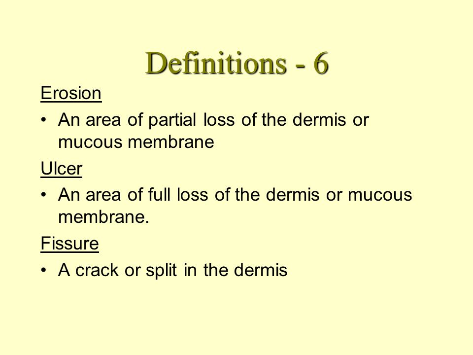 Definitions - 5 Erythema From the Latin for redness, Dilatation of the superficial skin capillaries, causing redness. Always blanches. Purpura Damage