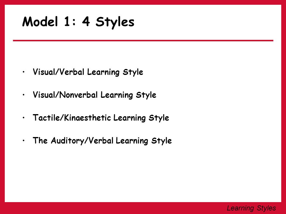Learning Styles Visual/Verbal Learning Style The learner learns best when information is presented visually and in a written language format.