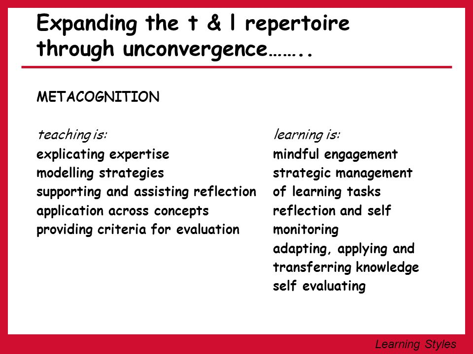 Learning Styles Expanding the t & l repertoire through unconvergence…….. METACOGNITION teaching is:learning is: explicating expertisemindful engagemen