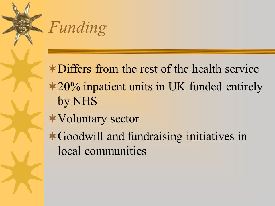 Funding Differs from the rest of the health service 20% inpatient units in UK funded entirely by NHS Voluntary sector Goodwill and fundraising initiat