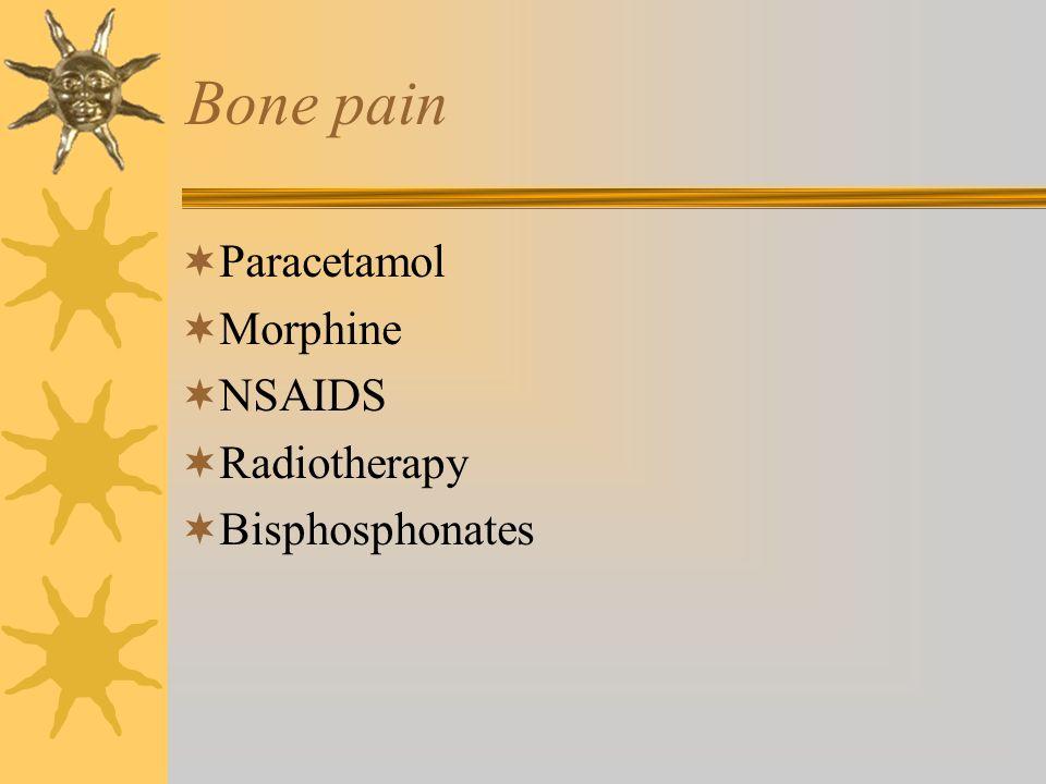 Paracetamol Morphine NSAIDS Radiotherapy Bisphosphonates