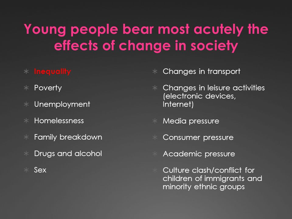 Young people bear most acutely the effects of change in society Inequality Poverty Unemployment Homelessness Family breakdown Drugs and alcohol Sex Changes in transport Changes in leisure activities (electronic devices, Internet) Media pressure Consumer pressure Academic pressure Culture clash/conflict for children of immigrants and minority ethnic groups