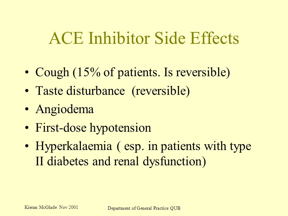 Kieran McGlade Nov 2001 Department of General Practice QUB ACE Inhibitor Side Effects Cough (15% of patients.