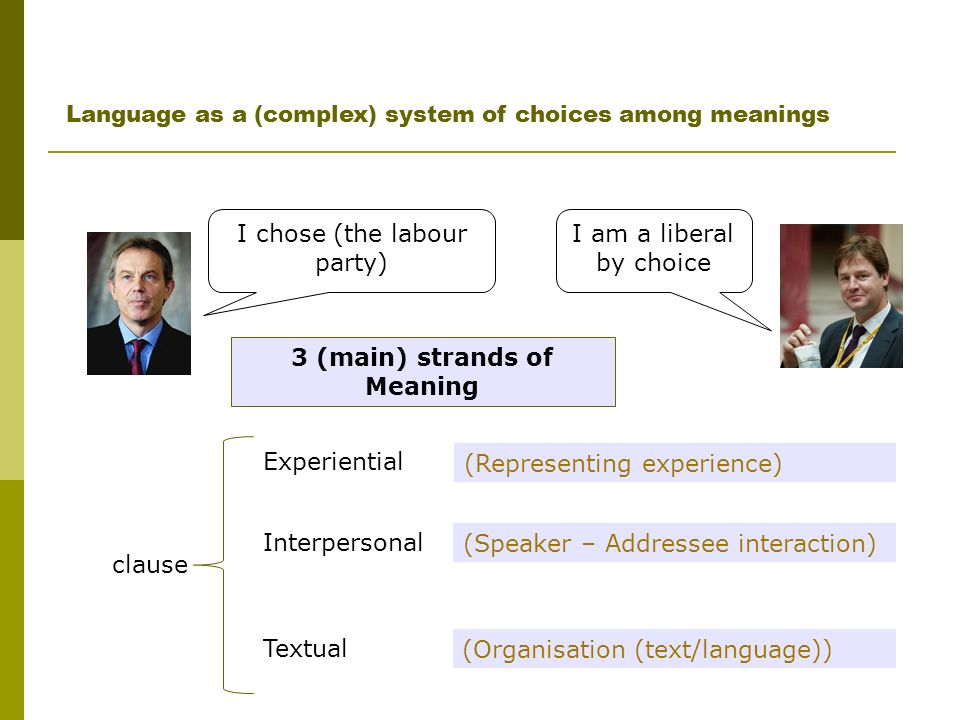 Language as a (complex) system of choices among meanings Experiential Textual Interpersonal (Representing experience) (Speaker – Addressee interaction