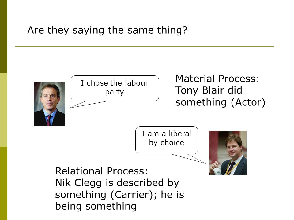 I chose the labour party I am a liberal by choice Are they saying the same thing? Material Process: Tony Blair did something (Actor) Relational Proces