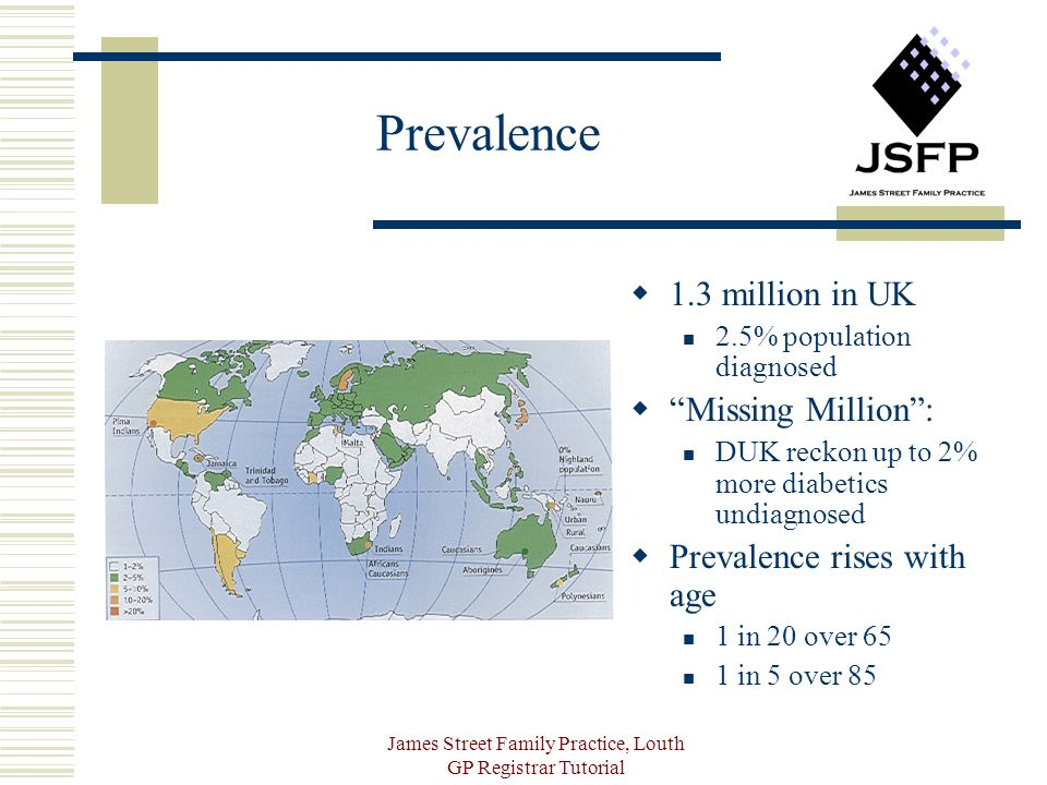 James Street Family Practice, Louth GP Registrar Tutorial Prevalence 1.3 million in UK 2.5% population diagnosed Missing Million: DUK reckon up to 2% more diabetics undiagnosed Prevalence rises with age 1 in 20 over 65 1 in 5 over 85