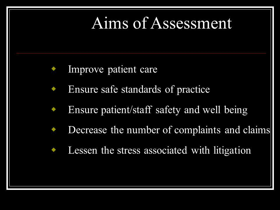 Aims of Assessment Improve patient care Ensure safe standards of practice Ensure patient/staff safety and well being Decrease the number of complaints and claims Lessen the stress associated with litigation