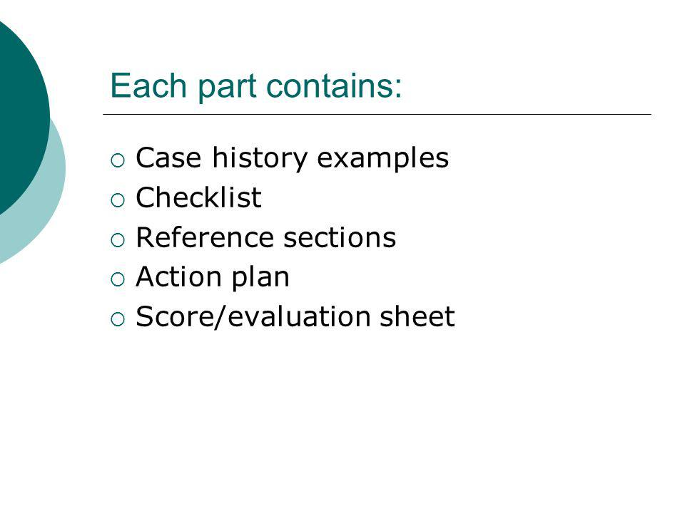 Each part contains: Case history examples Checklist Reference sections Action plan Score/evaluation sheet