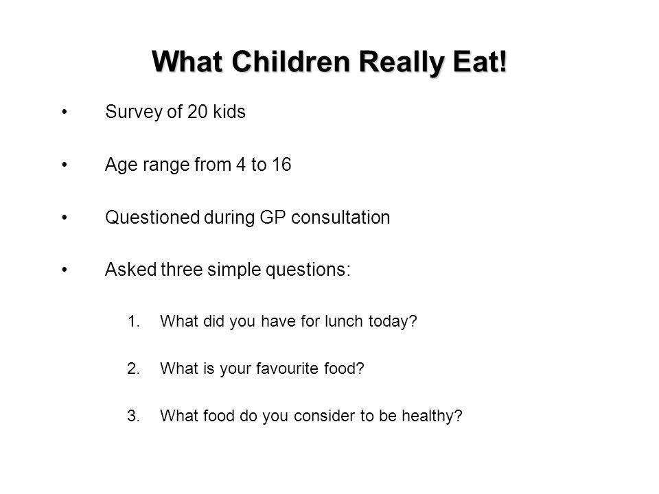 What Children Really Eat.