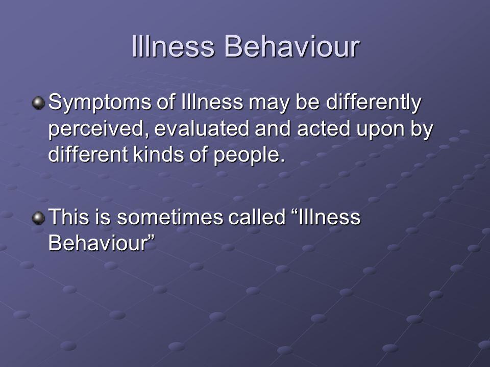 Illness Behaviour CulturePresentation Health beliefs Sex Social Class Access to health care Learned behaviour Triggers (home, work, TV, family and friends)