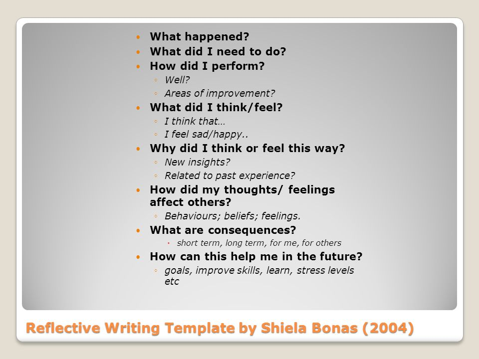 Reflective Writing Template by Shiela Bonas (2004) What happened? What did I need to do? How did I perform? Well? Areas of improvement? What did I thi