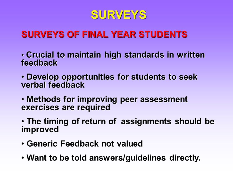 SURVEYS OF FINAL YEAR STUDENTS Crucial to maintain high standards in written feedback Crucial to maintain high standards in written feedback Develop opportunities for students to seek verbal feedback Develop opportunities for students to seek verbal feedback Methods for improving peer assessment exercises are required Methods for improving peer assessment exercises are required The timing of return of assignments should be improved The timing of return of assignments should be improved Generic Feedback not valued Generic Feedback not valued Want to be told answers/guidelines directly.