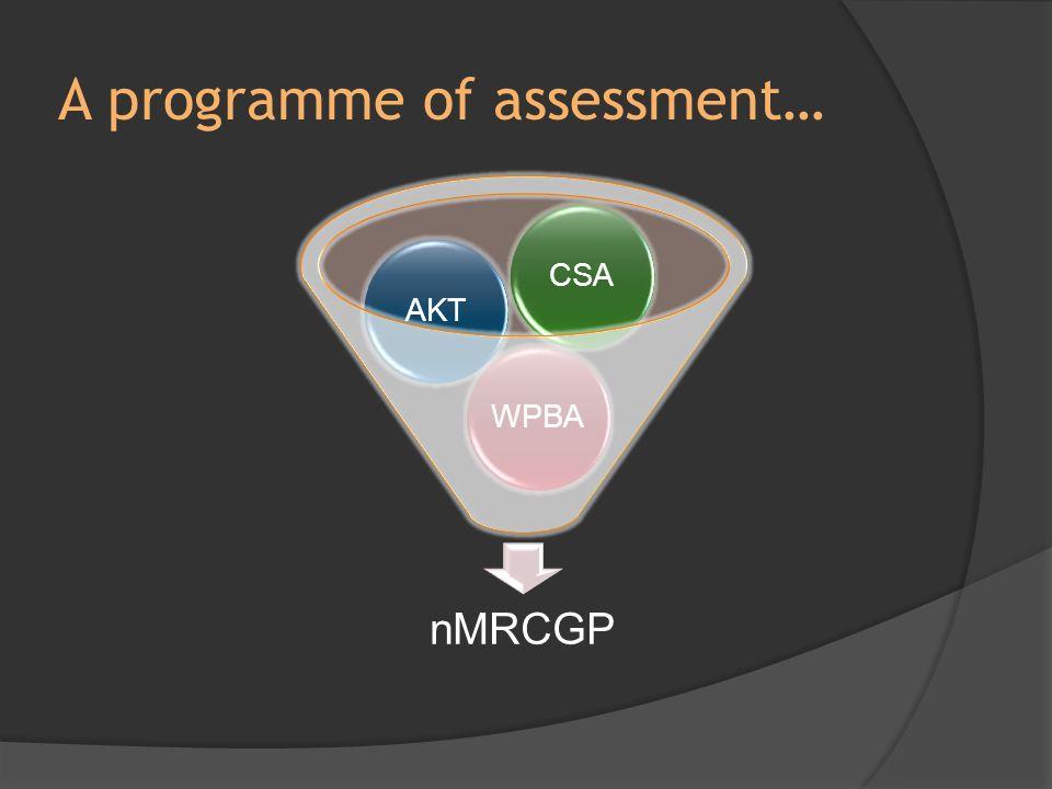 A programme of assessment… nMRCGP WPBAAKTCSA