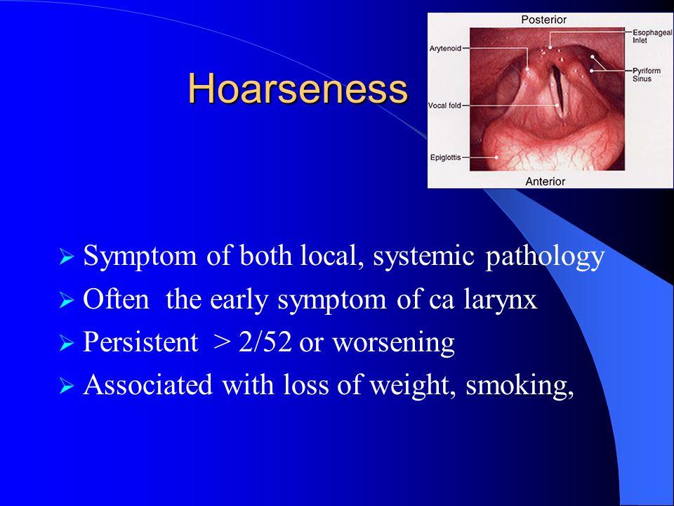 Common Pathology Viral laryngitis Viral URTI preceding aphonia Hx sorethroat B/L V.c. oedema/erythema voice rest, antibiotics