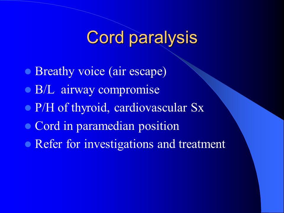 Signs Dysplasia/Ca in situ Leukoplakia Ulcero/Exophytic growth Neck mass URGENT REFERRAL