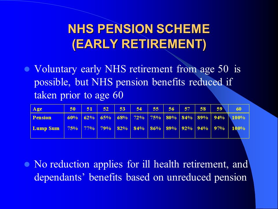 Worked example: Officer Officer joins NHS at age 25 Has 2 years break to carry out VSO work at the age of 35, then returns to NHS Assume retirement at age 60 Assume final earnings at retirement are £53,200 Total Service = 33 years Pension = 33/80ths x £53,200 = £21,945 pa Lump sum = 3 x £21,945 = £65,835