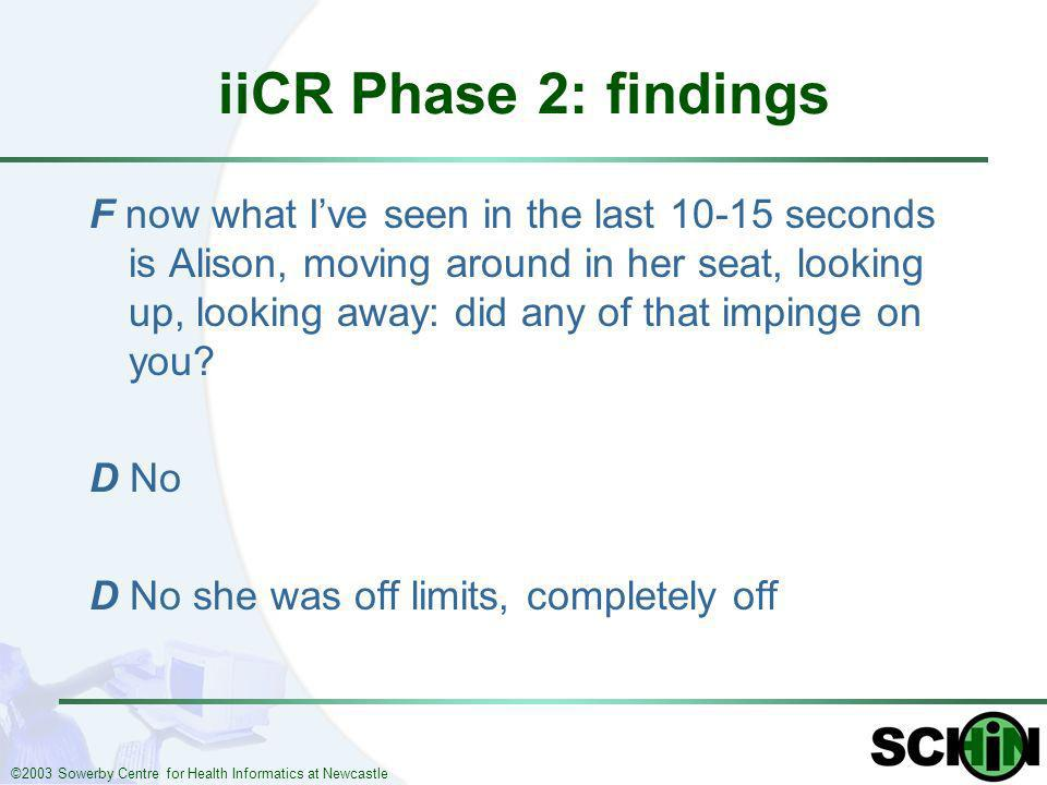 ©2003 Sowerby Centre for Health Informatics at Newcastle iiCR Phase 2: findings F now what Ive seen in the last 10-15 seconds is Alison, moving around