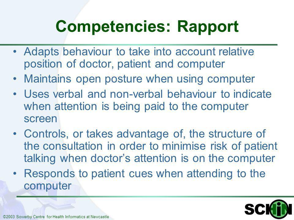 ©2003 Sowerby Centre for Health Informatics at Newcastle Competencies: Rapport Adapts behaviour to take into account relative position of doctor, pati
