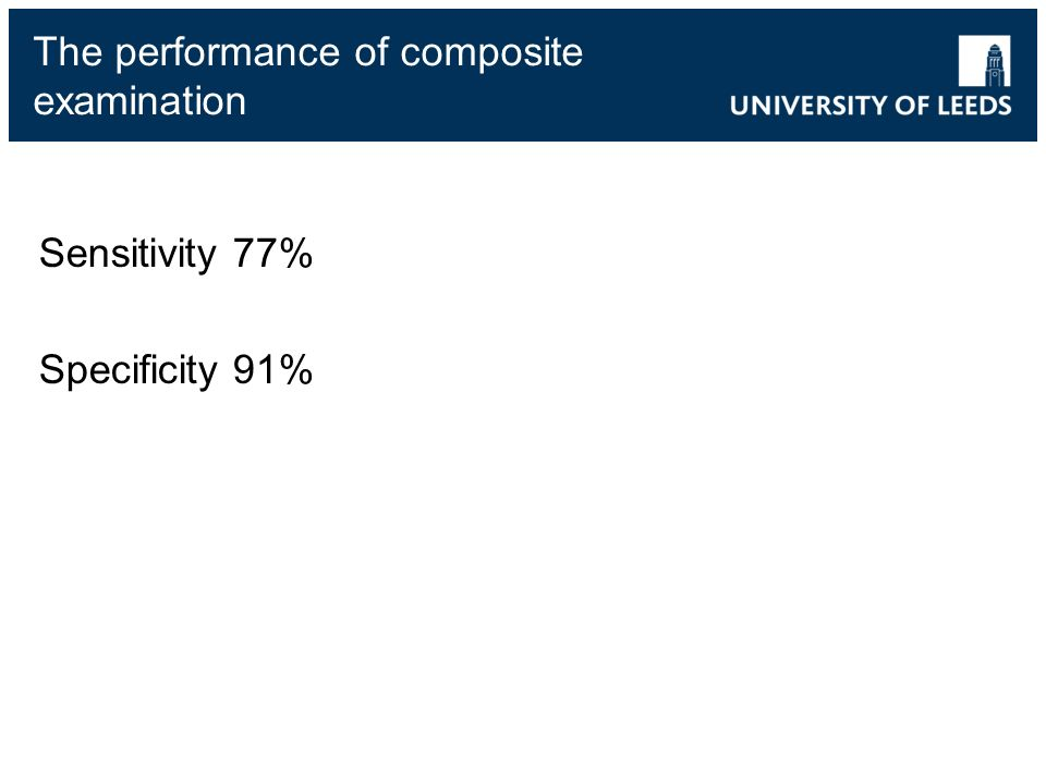 The performance of composite examination Sensitivity 77% Specificity 91%