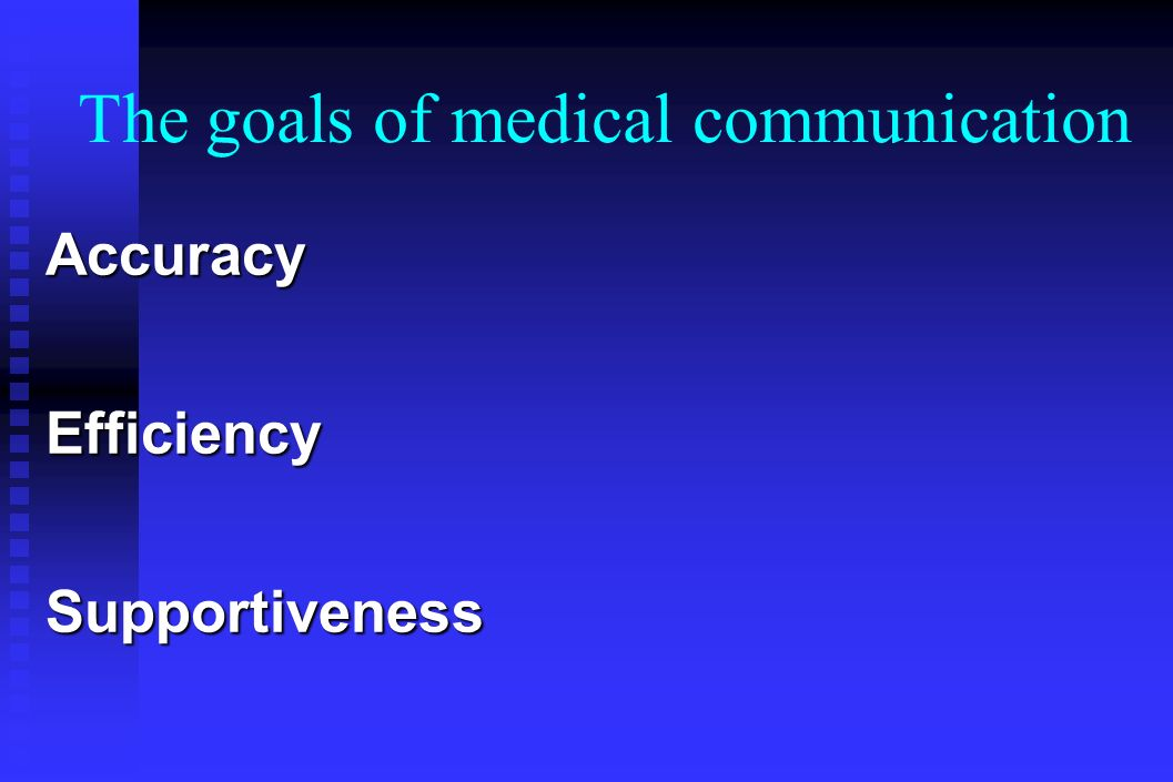 The goals of medical communication AccuracyEfficiencySupportiveness