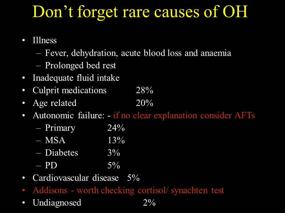 Dont forget rare causes of OH Illness –Fever, dehydration, acute blood loss and anaemia –Prolonged bed rest Inadequate fluid intake Culprit medications 28% Age related 20% Autonomic failure: - if no clear explanation consider AFTs –Primary 24% –MSA 13% –Diabetes3% –PD5% Cardiovascular disease 5% Addisons - worth checking cortisol/ synachten test Undiagnosed 2%