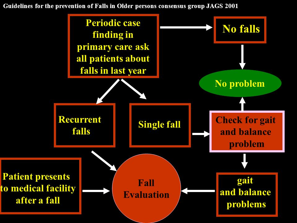 Periodic case finding in primary care ask all patients about falls in last year No falls Single fall Recurrent falls Check for gait and balance problem Patient presents to medical facility after a fall No problem gait and balance problems Fall Evaluation Guidelines for the prevention of Falls in Older persons consensus group JAGS 2001