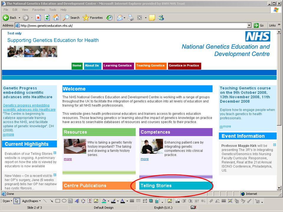 Supporting Genetics Education for Health www.geneticseducation.nhs.uk