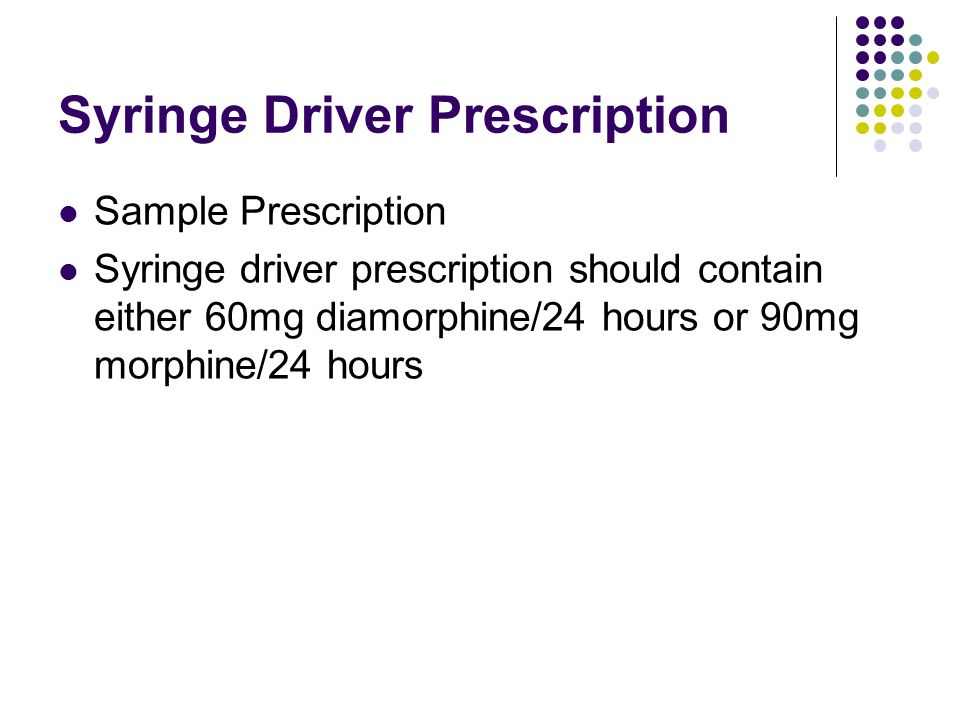 Syringe Driver Prescription Sample Prescription Syringe driver prescription should contain either 60mg diamorphine/24 hours or 90mg morphine/24 hours