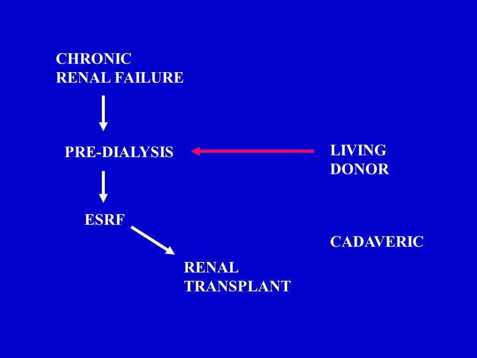 CHRONIC RENAL FAILURE PRE-DIALYSIS ESRF RENAL TRANSPLANT LIVING DONOR CADAVERIC